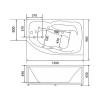 Акриловая ванна Bellsan Сати 1500х960x630 L с гидромассажем