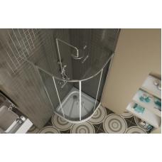 BRAVAT Drop BS090.1200A Душевой уголок с двумя раздвижными дверьми 900х900х2000 мм профиль полированный алюминий, прозрачные стекла прозрачные 6мм/easy clean, без поддона