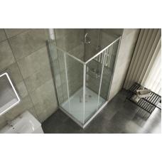BRAVAT Line BS090.2202A Душевой уголок квадратный с двумя раздвижными дверьми 900х900х2000 мм профиль полированный алюминий, стекла прозрачные 6мм/easy clean, без поддона