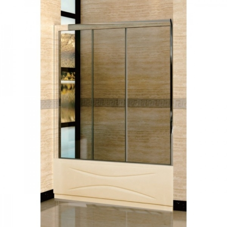 Шторка на ванну раздвижная трехстворчатая Royal Glass of Water RGW SC-41 серия Screen (166-171)х150 см стекло шиншилла